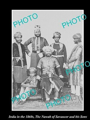 OLD LARGE HISTORIC PHOTO OF INDIA IN THE 1860s, THE NAWAB OF SAVANOOR & SONS