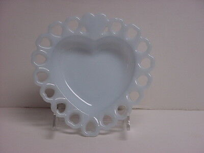 Fire-King Rare Azurite Blue Heart Shaped Lace Edge Candy Dish Anchor Hocking HTF