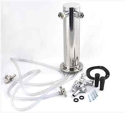 """TapRite 3"""" Column Tower - 2 Faucet - Stainless - Air Cooled Draft Beer Tap"""