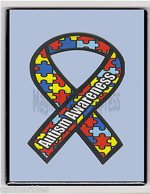 METAL MAGNET Autism Awareness Ribbon Blue Background MAGNET X