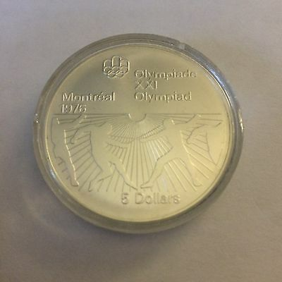 Canada Silver $5 Five Dollar coin, 1976 Montreal Olympics, mint cond In Capsule