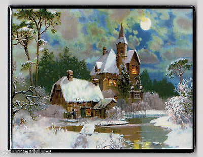 METAL MAGNET Snow House Water Night Moon Weather Winter Season MAGNET X