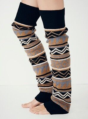 Free People Loveland Thigh Hi Leg Warmers Gray Combo