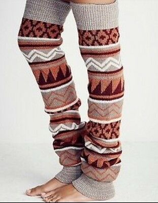 Free People Loveland Thigh Hi Leg Warmers Burgundy Combo