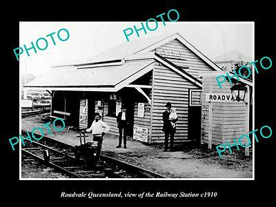 OLD LARGE HISTORIC PHOTO OF ROADVALE QUEENSLAND, THE RAILROAD STATION c1910