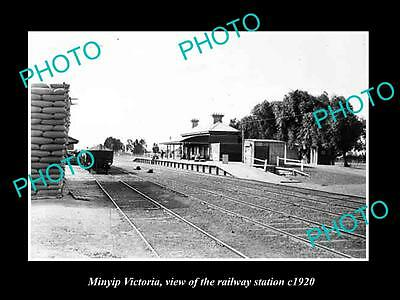 Old Large Historic Photo Of Minyip Victoria, The Railway Station 1920