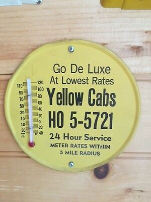 Original Rare 1940's Yellow Cab Metal Wall Advertising Thermometer