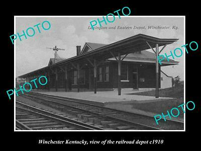 OLD LARGE HISTORIC PHOTO OF WINCHESTER KENTUCKY, THE RAILROAD DEPOT c1910