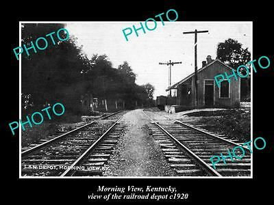 OLD LARGE HISTORIC PHOTO OF MORNING VIEW KENTUCKY, THE RAILROAD DEPOT c1920