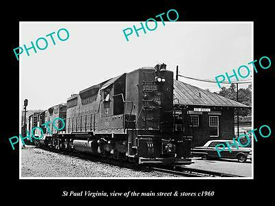 OLD LARGE HISTORIC PHOTO OF ST PAUL VIRGINIA, THE RAILROAD DEPOT STATION c1960
