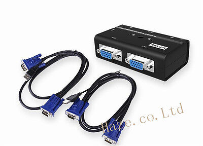 Mini 2 Port USB KVM Switch Manual Box Adapter with 2 USB KVM Cable