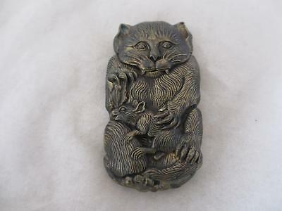 ANTIQUE VICTORIAN style BRASS VESTA CAT TOYING WITH MOUSE.