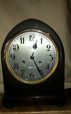 Old Gothic Arched 2Key Mantle Clock By J E Beale Of Bournemouth