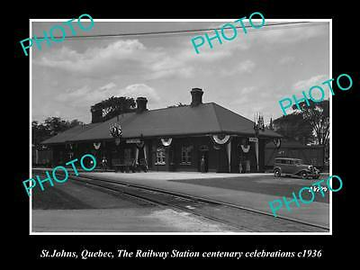 OLD LARGE HISTORIC PHOTO OF St JOHNS QUEBEC, VIEW OF THE RAILWAY STATION c1936