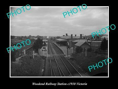 OLD LARGE PHOTO OF THE WOODEND RAILWAY STATION PLATFORM c1910, VICTORIA