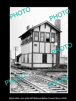 OLD LARGE HISTORIC PHOTO OF ELYRIA OHIO, THE BS RAILROAD STATION TOWER c1930