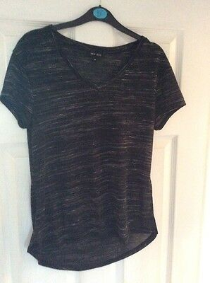 New Look Black V Neck T Shirt In Uk Size 8 TEE SHORT SLEEVE