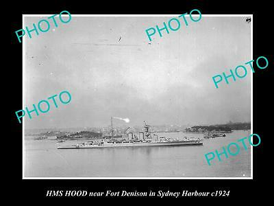 OLD LARGE HISTORIC PHOTO OF THE HMS HOOD IN SYDNEY HARBOUR, BRITISH NAVY c1924