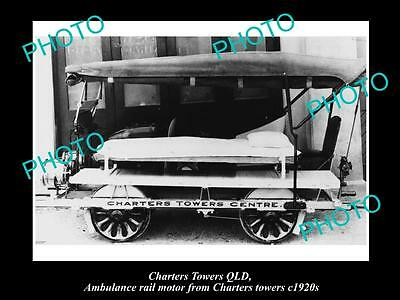 OLD LARGE HISTORIC PHOTO OF CHARTERS TOWERS QLD, QLD RAIL AMBULANCE CAR 1920s