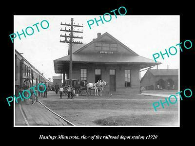 OLD LARGE HISTORIC PHOTO OF HASTINGS MINNESOTA, THE RAILROAD DEPOT STATION c1920