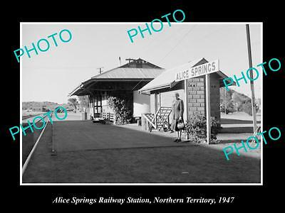 Old Large Historic Photo Of Alice Springs Nt, View Of The Railway Station 1947