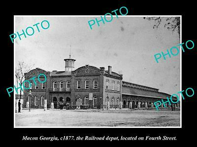 OLD LARGE HISTORIC PHOTO OF MACON GEORGIA, THE RAILROAD DEPOT STATION c1877