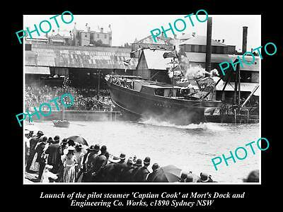 OLD LARGE PHOTO OF THE LAUNCH OF THE PILOT STEAMER, CAPTAIN COOK, SYDNEY c1890
