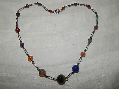 VERY PRETTY ANTIQUE EDWARDIAN SILVER & SCOTTISH AGATE BEAD NECKLACE ~ c1910