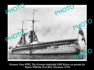OLD LARGE HISTORIC PHOTO OF GERMAN NAVY WWI, THE BATTLESHIP SMS KAISER c1914