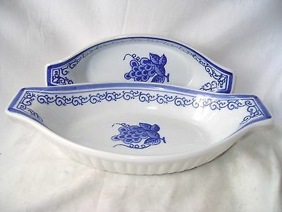 2 Blue & White Oval Oven Dishes Wide Handles Berries Floral Design Dish