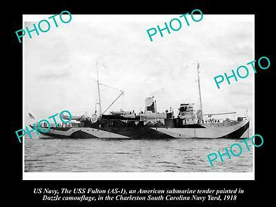 OLD LARGE HISTORIC PHOTO OF US NAVY WWI, USS FULTON IN CAMOUFLAGE c1918