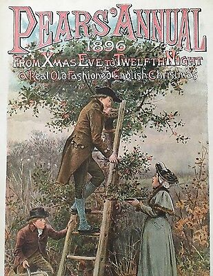 Original Vintage Print From Pears' Christmas Annual, 1896 - Gathering Holly