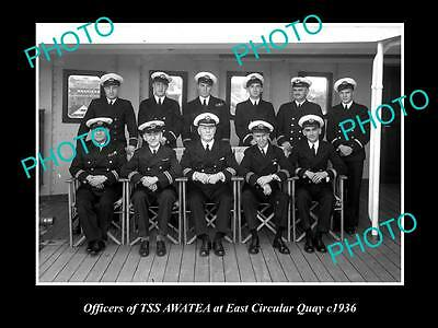 OLD LARGE HISTORIC PHOTO OF TSS AWATEA STEAM SHIP OFFICERS IN SYDNEY c1936