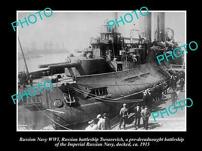 OLD LARGE HISTORIC PHOTO OF RUSSIAN NAVY WWI, THE BATTLESHIP TSESAREVICH c1915