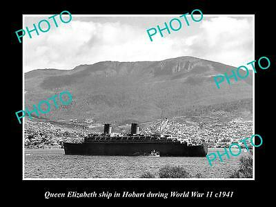 Old Large Historical Photo Of The Queen Elizabeth Ship At Hobart In Wwii, 1941