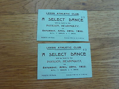 1922 Leeds Athletic Club Dance Tickets Pavilion Headingly X 2 Original