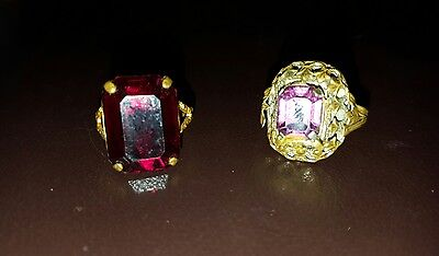 Vintage Art Deco Rings Beautiful Ornate Square Stone Set Cocktail Duo