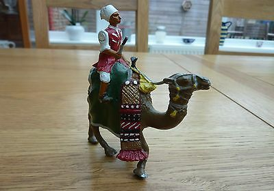 """Beautiful Large Lead Or Die Cast Painted Arabic Camel And Rider 4.5"""" Tall"""