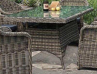Grey Rattan Weave Glass Patio Table Garden Rectangle Wicker Conservatory Kitchen