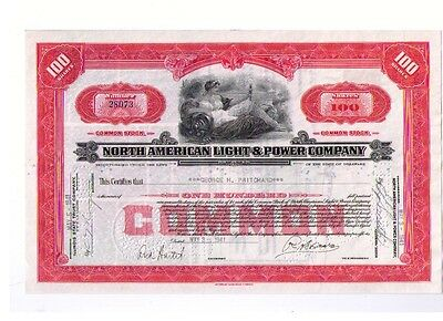 Aktie: NORTH AMERICAN LIGHT & POWER COMPANY 100 Shares von 1941 - rote Serie