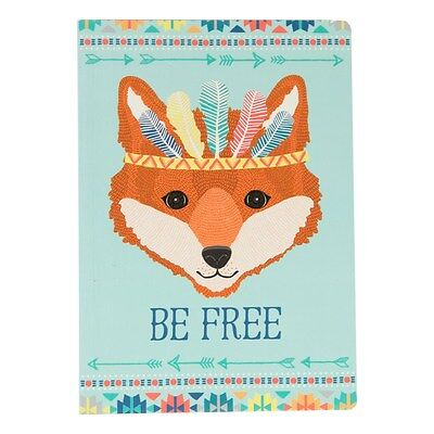 Blue A5 Notebook Fox Free Note Pad Plain Paper Writing Journal Gift Drawing Book