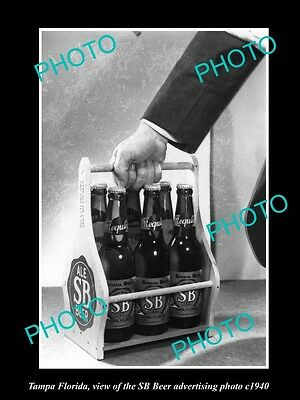 OLD LARGE HISTORIC PHOTO OF TAMPA FLORIDA, THE SP BEER ADVERTISING PHOTO c1940