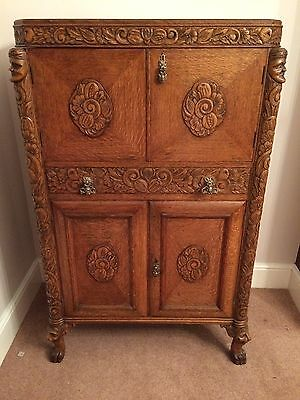 Oak Carved Cocktail Cabinet