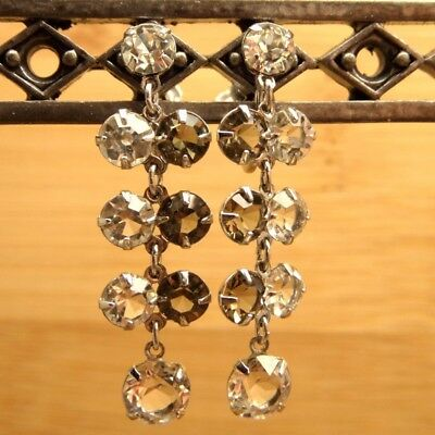 Vintage Sterling Silver Open Back Dangle Clear & Smoke Crystal Earrings 4.2g