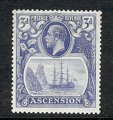 Ascension Island 1924 3d Blue. SG 14. MLH