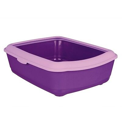 New - 1 x Trixie Classic Cat Litter Tray With Rim - Grey Purple Brown Or Green