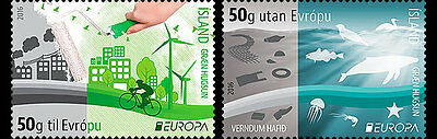 ISELAND.2016 EUROPA CEPT.THINK GREEN. Set 2 stamps.MNH