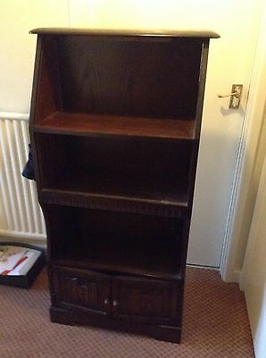 "Oak Bookcase With Small Cupboard At Bottom. 27 X 11 X 51"" At Widest Points"