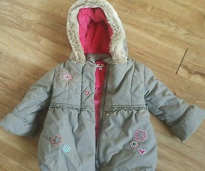 Girls M&S winter coat age 12-18 months