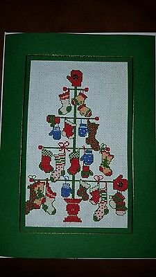 large Completed Cross stitch card